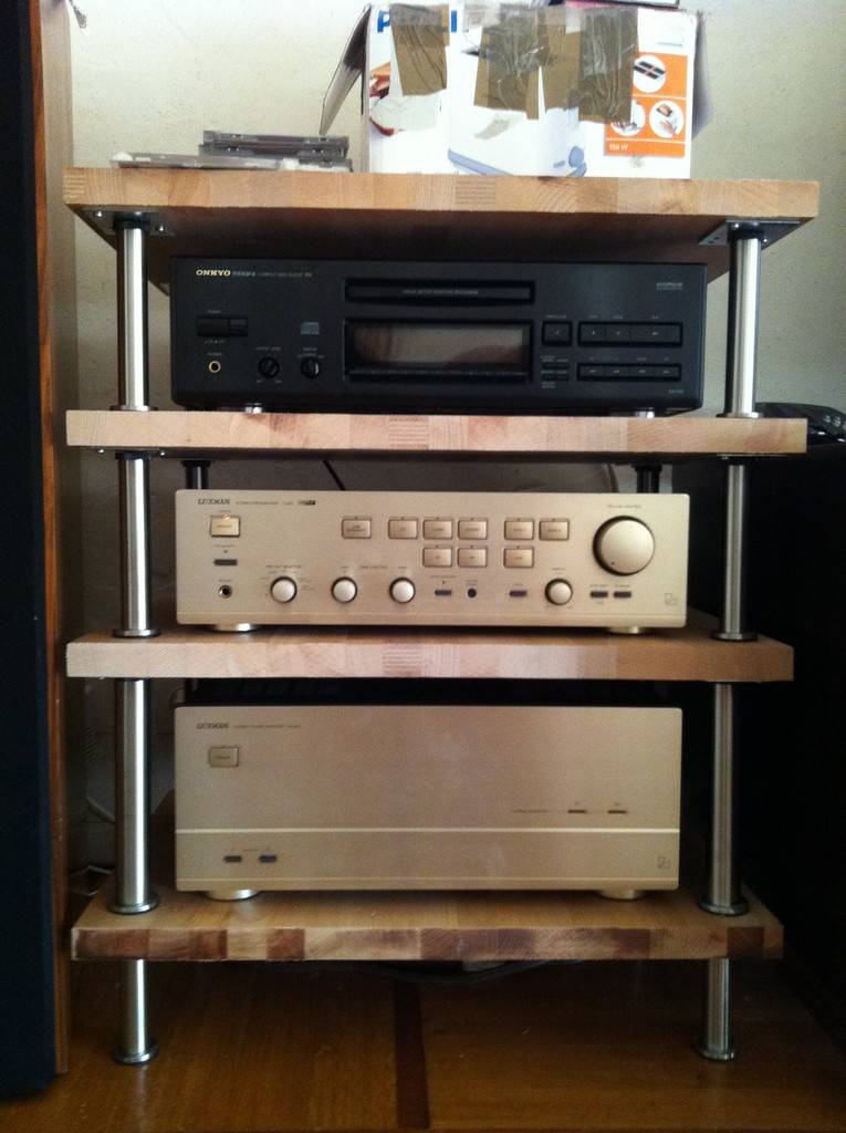 Ikea shelf installation reclaimed wood picture ledge for Meuble audio