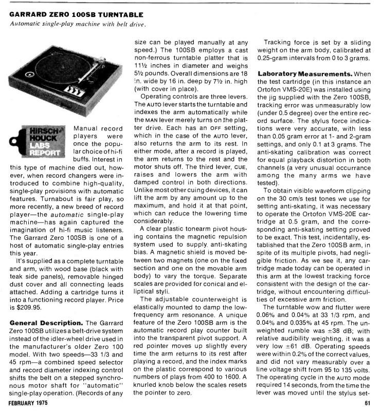 Garrard Zero 100sb Manual
