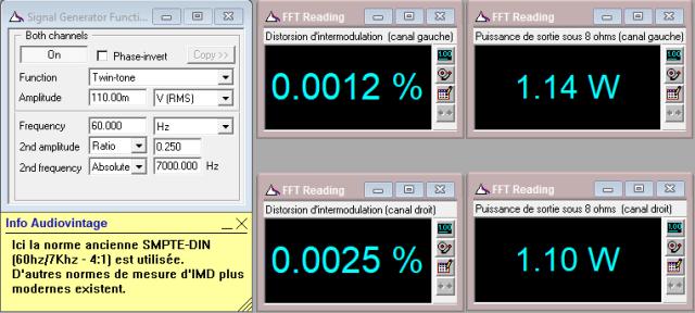 Denon POA-1003 : IMD-a-2x1w-sous-8-ohms