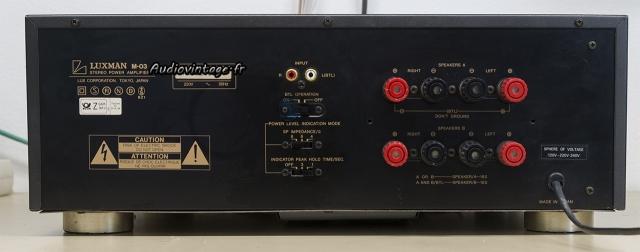 Luxman M-03 : connectique.