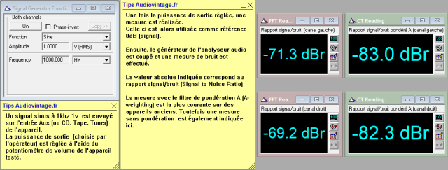 Marantz 2238BL : rapport-signal-bruit-a-2x1w-sous-8-ohms-entree-aux