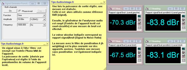 Marantz 2238BL : rapport-signal-bruit-a-2x1w-sous-8-ohms-entree-phono