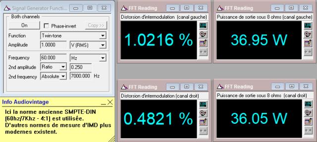 Marantz 2240 : puissance-de-sortie-sous-8-ohms-a-lecretage-en-IMD-entree-aux