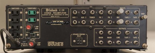 McIntosh C29 : connectique.