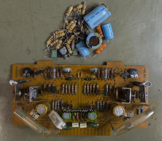 """Sansui 8080 : circuit """"driver"""" réparé et révisé."""