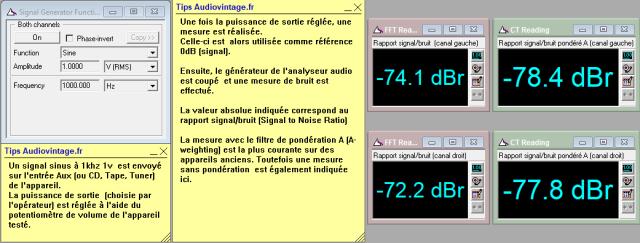 Sansui AU-101 : rapport-signal-bruit-a-2x1w-sous-8-ohms-entree-aux