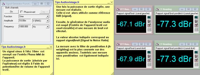 Sansui AU-101 : rapport-signal-bruit-a-2x1w-sous-8-ohms-entree-phono