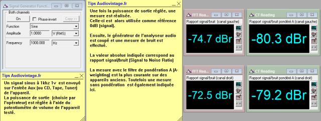 Sansui AU-317 II : rapport-signal-bruit-a-2x1w-sous-8-ohms-entree-aux-tone-defeat