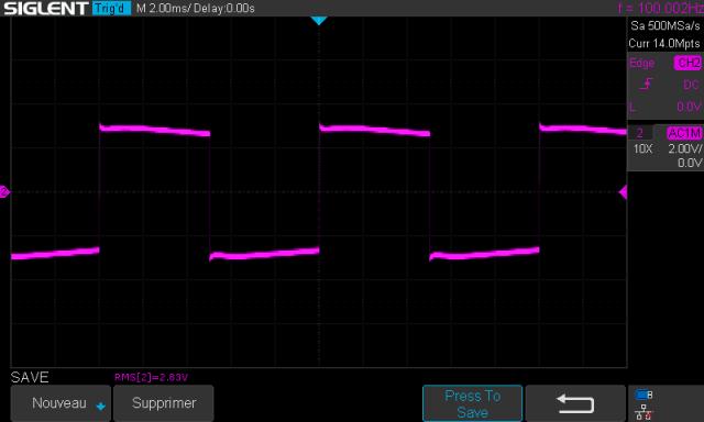 Sansui AU-217 : signal-carré-à-100hz