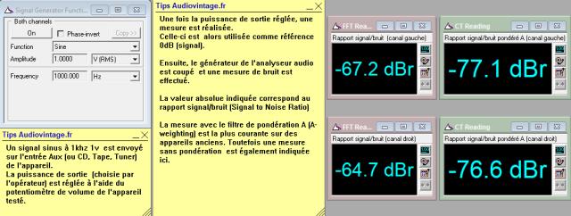 Sansui AU-222 : rapport-signal-bruit-a-2x1w-sous-8-ohms-entree-aux
