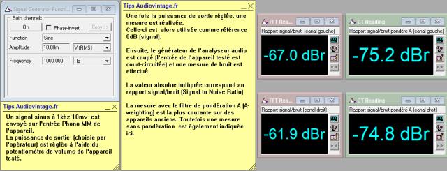 Sansui AU-222 : rapport-signal-bruit-a-2x1w-sous-8-ohms-entree-phono