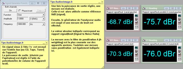 Sansui AU-505 : rapport-signal-bruit-a-2x1w-sous-8ohms-entree-aux