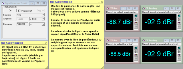 Sansui AU-717 : rapport-signal-bruit-a-2x1w-sous-8-ohms-entree-aux-tone-defeat